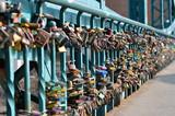 Padlocks on a bridge in Wroclaw, Poland
