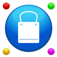 Shopping bag icon button with 4 color background included
