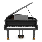 black grand piano isolated on white background - 62699051