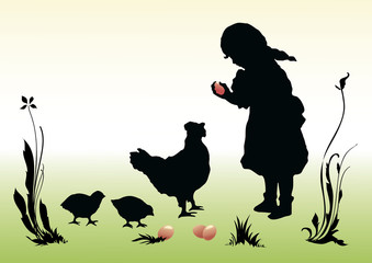 Easter. A girl with girl with a hen and chickens