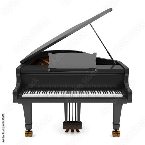 Leinwanddruck Bild black grand piano isolated on white background