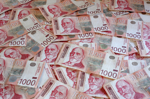 Serbian Currency - A Heap of 1000 Dinar Banknotes