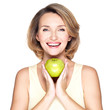 Young happy smiling woman with green apple.