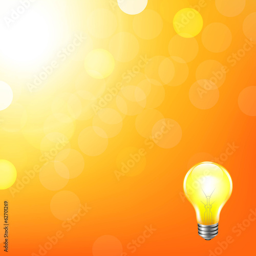 Orange Background With Bokeh And Lamp