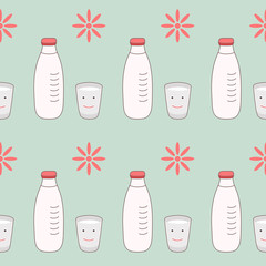 seamless pattern with milk