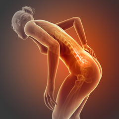 a woman having acute pain in the back
