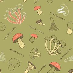 mushroom retro seamless