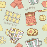 retro coffee seamless pattern