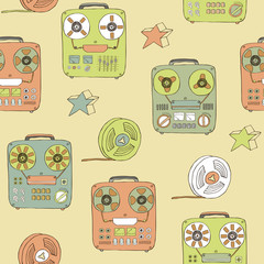retro tape recorder seamless pattern