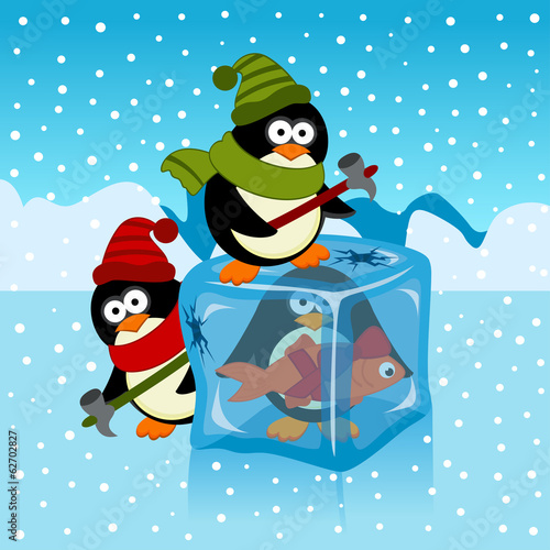ice cube with penguin - vector illustration