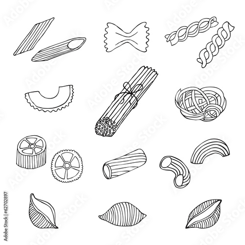 hand drawn pasta set