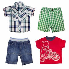 Collage of boy clothing isolated on white.
