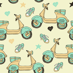 doodle scooter seamless pattern