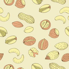 colorful nuts seamless pattern