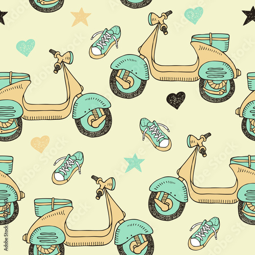 doodle scooter seamless pattern - 62703240