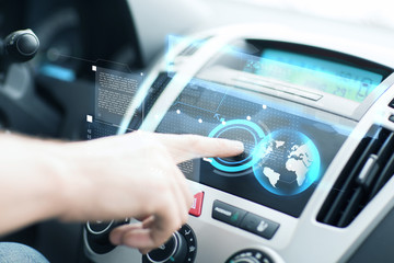 man using car control panel