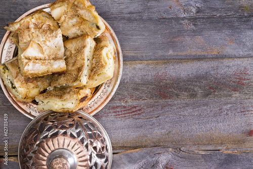 Portions of borek pastry served on a plate