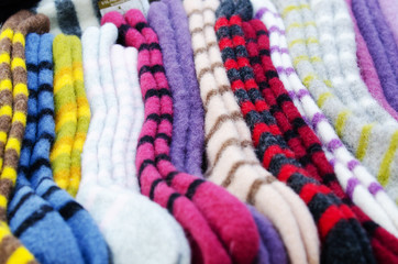 Traditional woollen sox in the handicraft mart