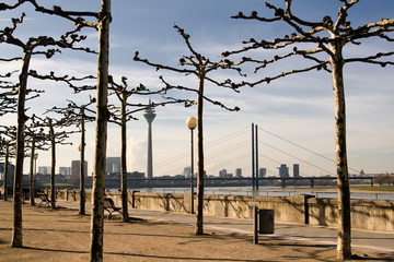 Promenade in Dusseldorf on a sunny day, Germany