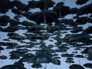 Many umbrellas  in the sky, background