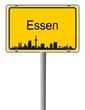 Ortsschild Skyline Essen
