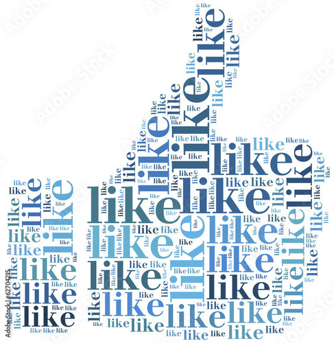 Word cloud social media related in shape of thumb