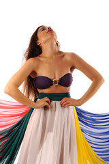 Beautiful bellydancer with colorfull fabric