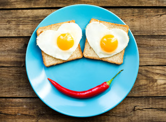 Funny fried eggs for the brakfast