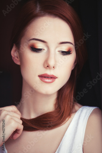 Portrait of a young women with makeup.