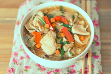 Bowls of Asian soup noodles