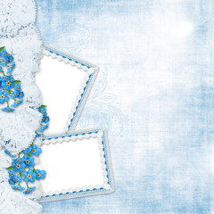 Vintage background with forget-me-not and frames