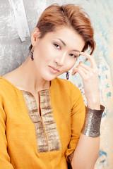 Asian beauty face closeup portrait