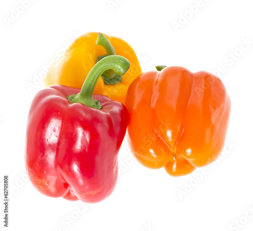 Colored Fresh Sweet Pepper Isolated on White Background