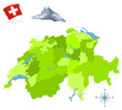 Map of Switzerland, provinces and regions