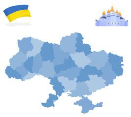 Map of Ukraine, provinces and regions