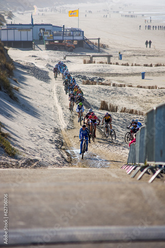 CAMPERDUIN/THE NETHERLANDS - MARCH 15th, 2014: Beachbiking race