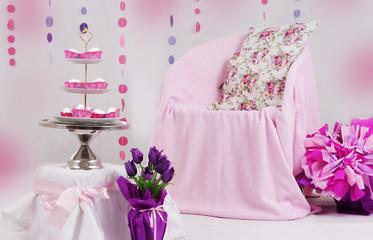 Pink baby shower decor