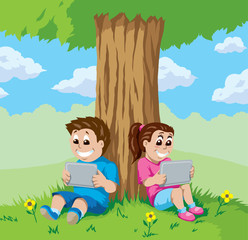 Kids with tablets under a tree
