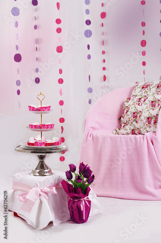 Pink baby shower decor