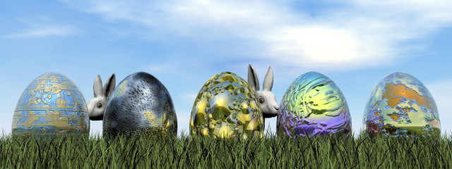 Easter eggs and rabbit - 3D render