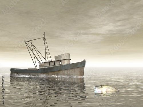 Old fishing boat - 3D render