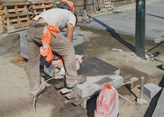 Coupe de blocs de granite