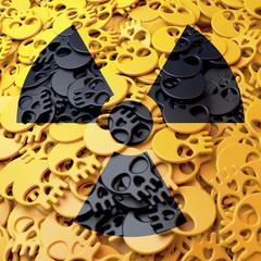 Warnzeichen Radioaktiv, gelb, schwarz