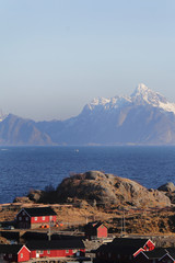 red cabins of Stamsund and mounts