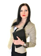 Jeune femme brune dynamique avec ordinateur portable