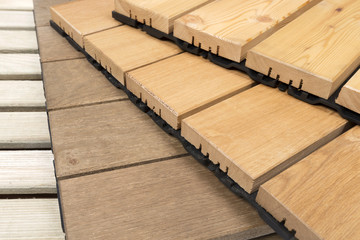 Wooden garden tiles