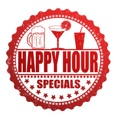 Happy hour specials stamp
