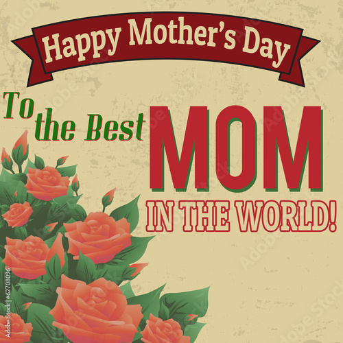 Happy mothers day retro poster