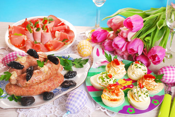 easter table with traditional dishes