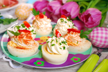 stuffed eggs with cheese and mayonnaise for easter